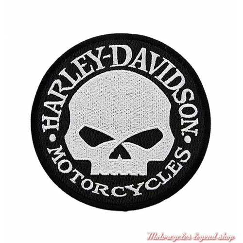 Patch Skull Willie G Harley-Davidson, 10 cm, circulaire, noir et blanc, à coudre, 8011574