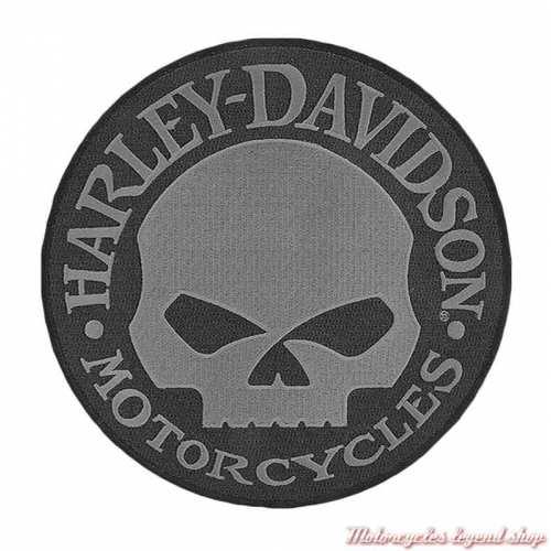 Patch Skull Willie G Large Harley-Davidson, 20 cm circulaire, noir et gris, à coudre, 8011581