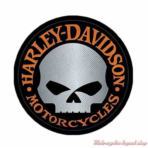 Patch Skull Willie G reflective Harley-Davidson10 cm, circulaire, noir orange, gris, à coudre, 8011673