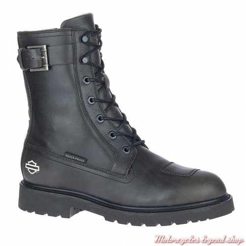 Chaussure Brosner à lacets Harley-Davidson homme, rangers cuir noir, waterproof, homologuées, D97170