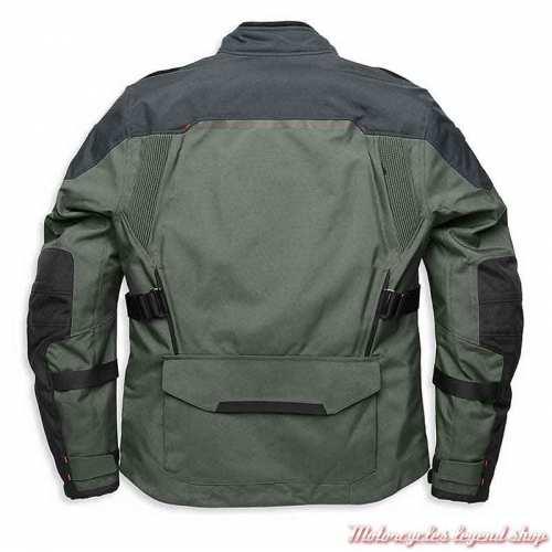 Blouson textile Grit Aventure homme Harley-Davidson Pan America, gris, noir, Rev'it, technique, dos, 98179-21VM