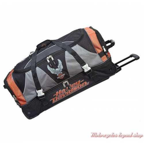 Sac de voyage à roulettes XL Harley-Davidson 81 cm, noir, orange, gris, robuste, 99632