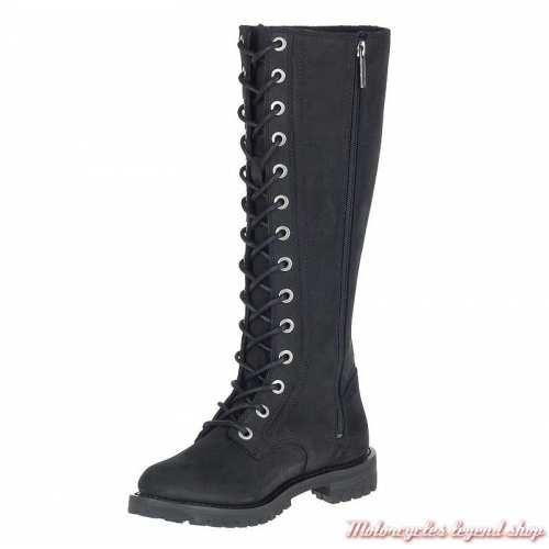 Bottes Lornell à lacets, zippées, cuir nubuck noir, Harley-Davidson femme, D84685-2