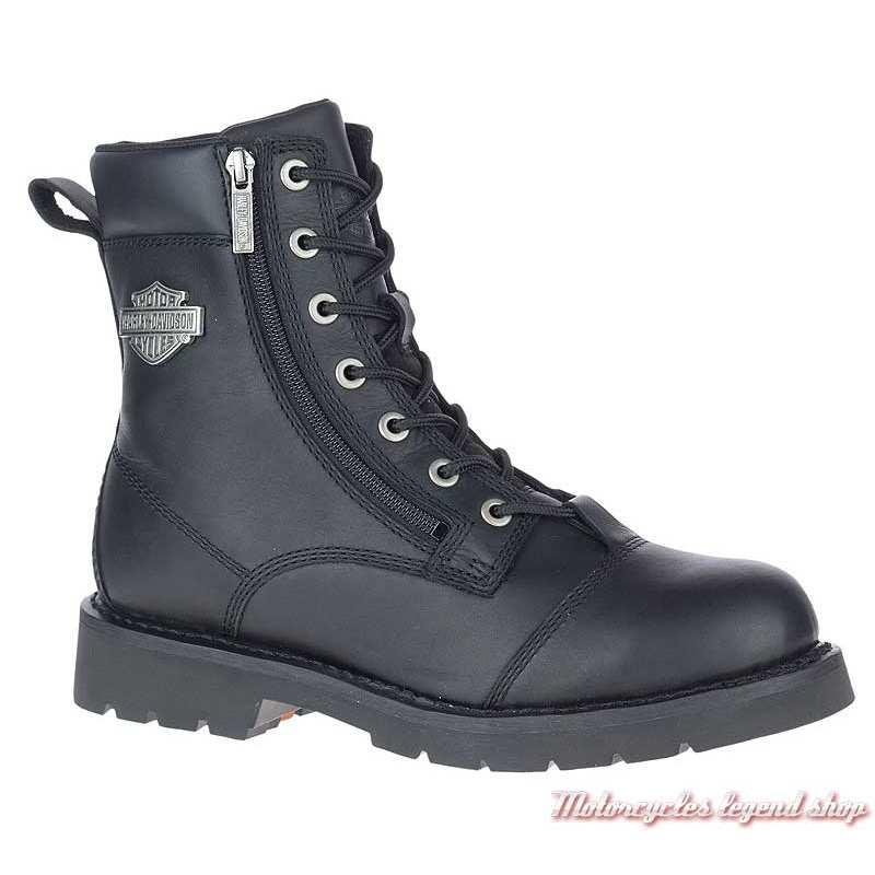 Chaussure Landry Harley-Davidson homme, lacets, 2 zips, cuir noir, homologués CE, D93706