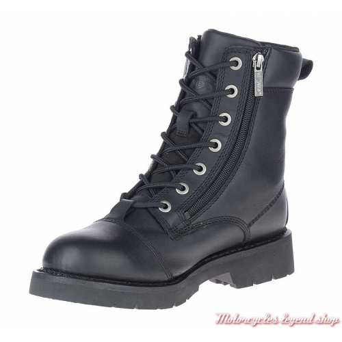 Chaussure Landry Harley-Davidson homme, lacets, 2 zips, cuir noir, homologués CE, D93706-2