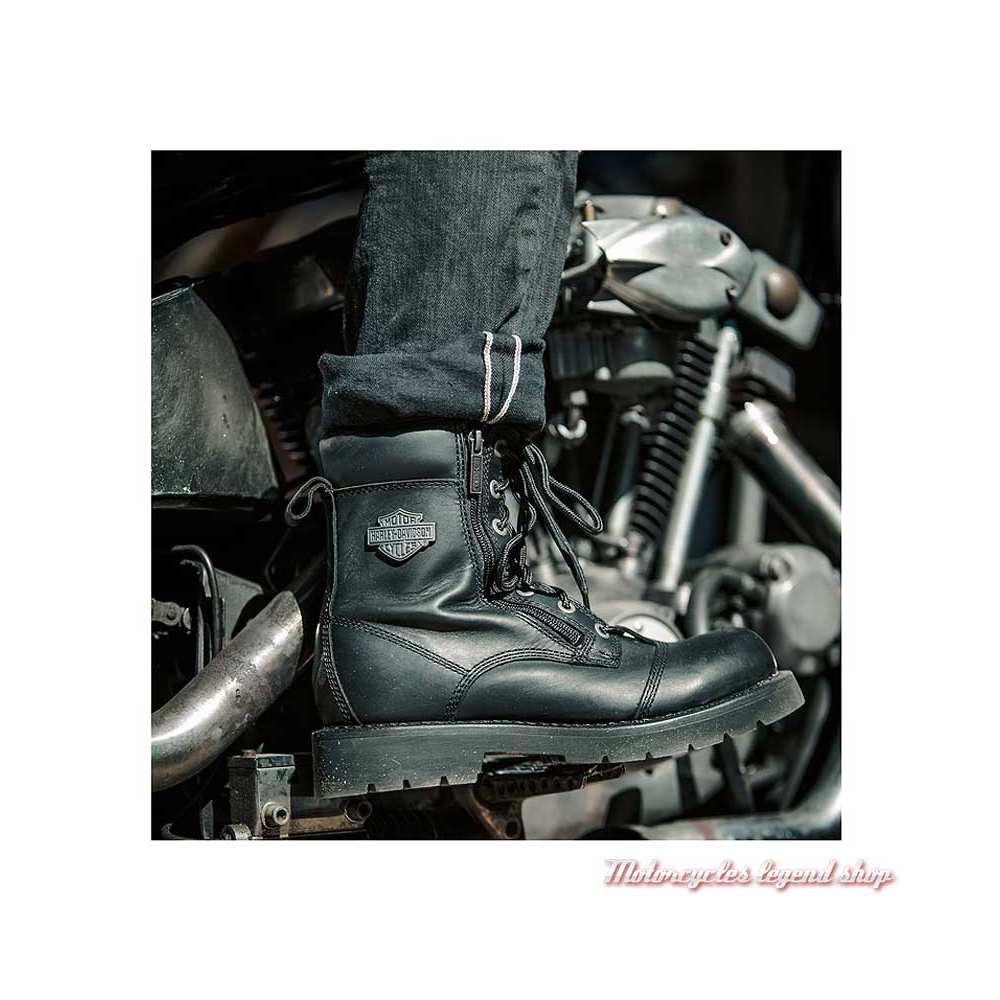 Chaussure Landry Harley-Davidson homme, lacets, 2 zips, cuir noir, homologués CE, visuel, D93706