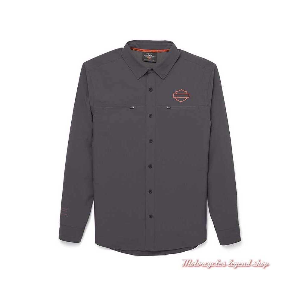 Chemise Performance Harley-Davidson homme, gris, polyester, 96036-22VM