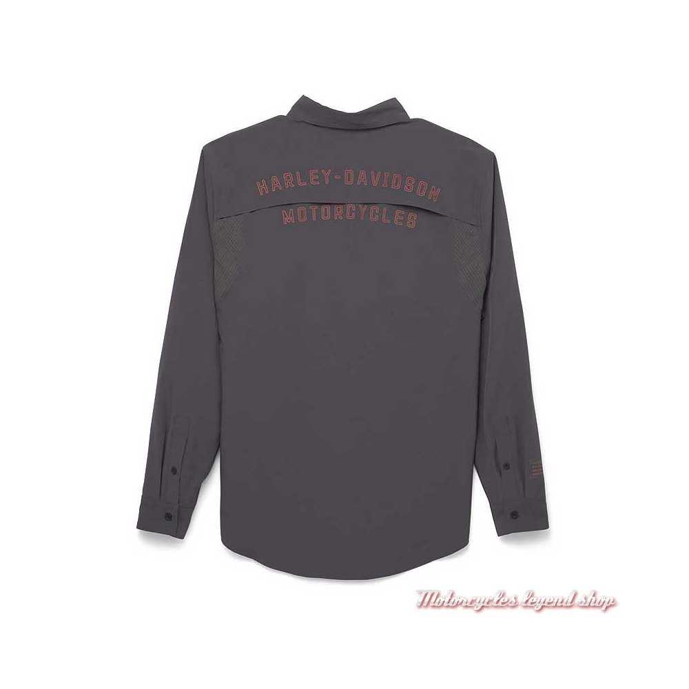 Chemise Performance Harley-Davidson homme, gris, polyester, dos, 96036-22VM