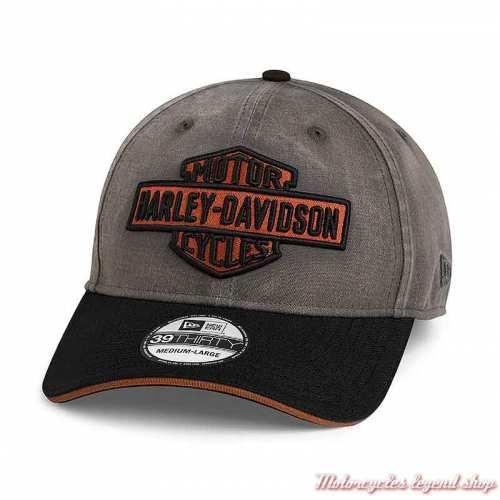 Casquette Vintage Logo Bar & Shield Harley-Davidson, 39THIRTY, gris, noir, orange, 97703-21VM