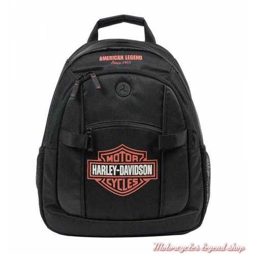 Petit sac à dos Bar & Shield black/orange, nylon, Harley-Davidson BP1968S-ORGBLK