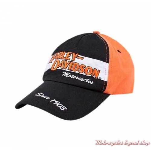 Casquette baseball Harley-Davidson enfant, 4-14 ans, coton, noir, blanc, orange, 0280282