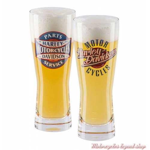 2 Verres à bière 75 cl Parts & Service Harley-Davidson, rétro, transparent, HDL-18808