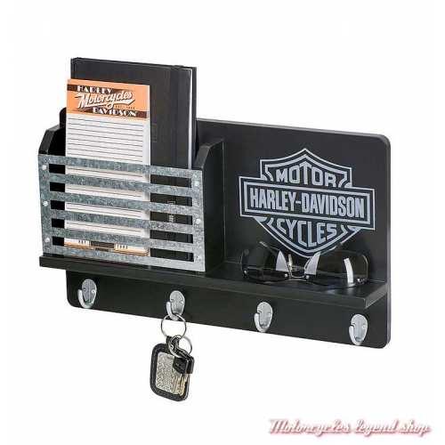 Porte clés mural Harley-Davidson bois noir et métal, 4 crochets, HDL-15323