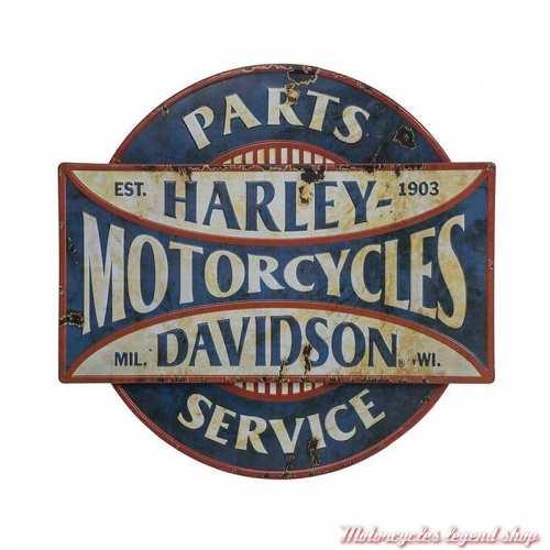 Plaque métal Parts & Service Harley-Davidson, vieillie rouillée, relief, HDL-15523
