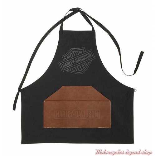 Tablier barbecue Harley-Davidson toile cirée et simili cuir marron, HDX-98517