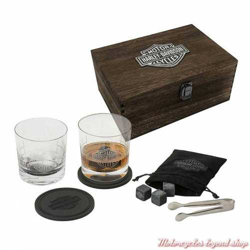 Coffret à whisky en bois Harley-Davidson, 2 verres, sous verre, pierres, pince, HDL-18806