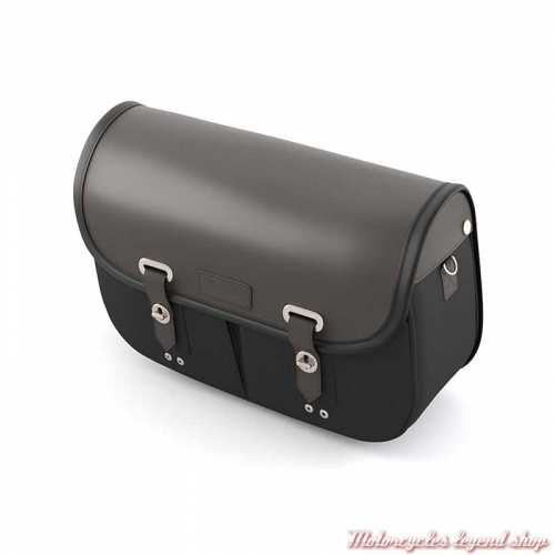 Sacoche latérale gauche Triumph, cuir et coton noir, A9518291