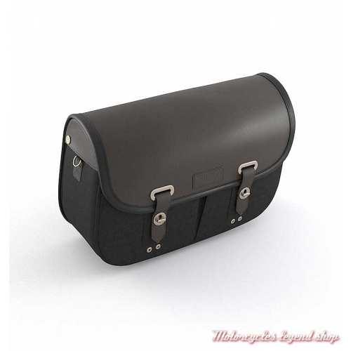 Sacoche latérale droite Triumph, cuir et coton noir, A9518290