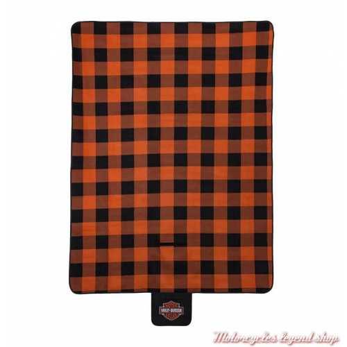 Couverture de Pique-Nique Harley-Davidson, polaire, carreaux orange, noir, 150 x 200, HDX-98523