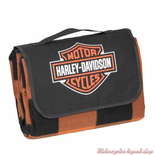 Couverture de Pique-Nique Harley-Davidson, polaire, carreaux orange, noir, 150 x 200, fermé, HDX-98523