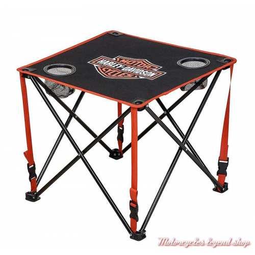 Table de camping pliante carrée Harley-Davidson, noir orange, polyester, acier, HDX-98521