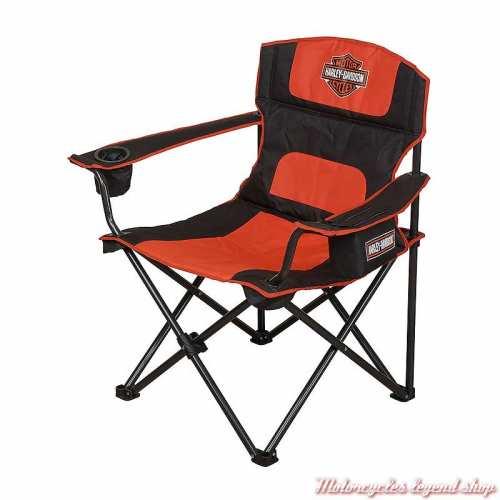 Chaise de camping Harley-Davidson, pliante, noir, orange, HDX-98520