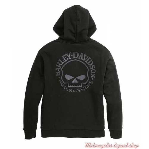 Sweatshirt Willie G. Skull Harley-Davidson homme, zippé, capuche, noir, coton, fleece, dos, 96059-22VM