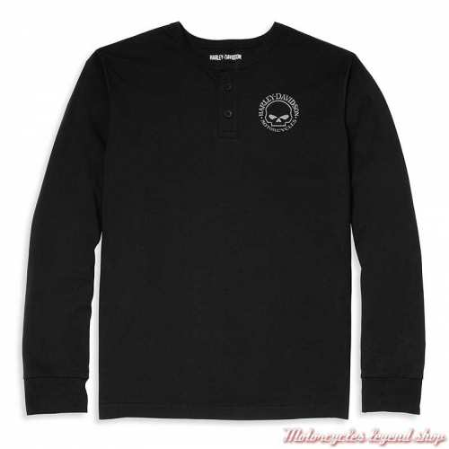 T-shirt Henley Willie G Skull Harley-Davidson homme, manches longues, noir, coton, 96037-22VM