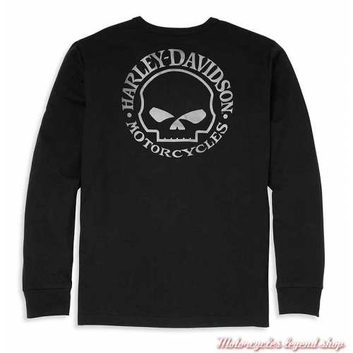 T-shirt Henley Willie G Skull Harley-Davidson homme, manches longues, noir, coton, dos, 96037-22VM