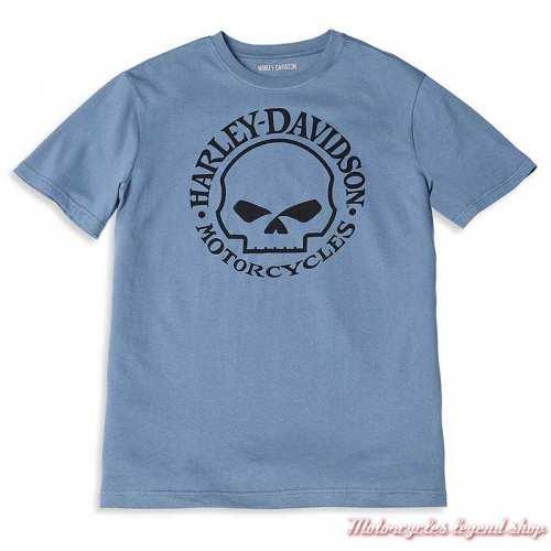 Tee-shirt Willie G Skull Harley-Davidson homme, bleu, manches courtes, coton, 96072-22VM
