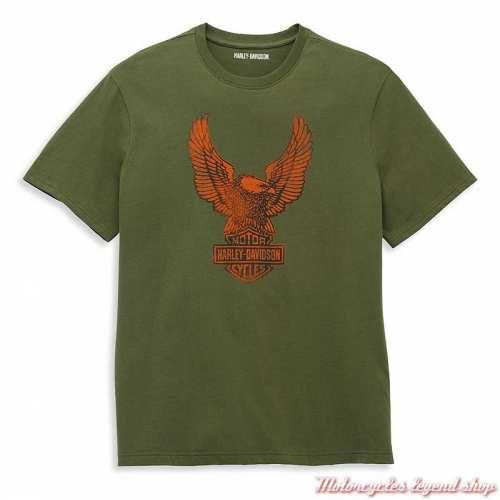 T-shirt Winged Eagle Graphic Harley-Davidson homme, vert, orange, manches courtes, coton, 96051-22VM