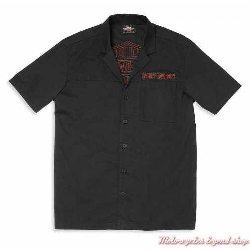 Chemisette Mechanics Harley-Davidson homme, noir, broderie, coton, 96020-22VM