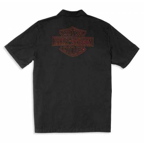 Chemisette Mechanics Harley-Davidson homme, noir, broderie, coton, dos, 96020-22VM