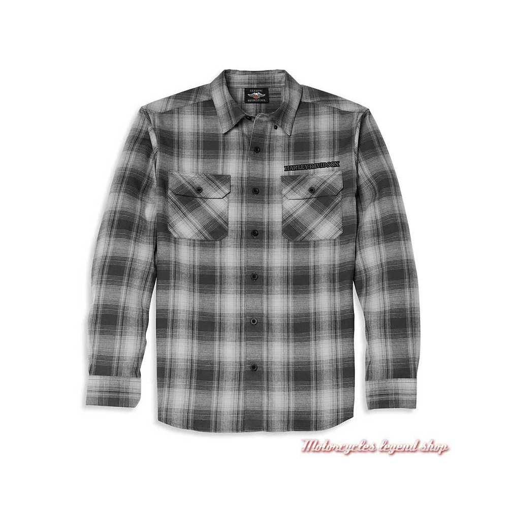 Chemise Willie G Skull Plaid Flannel Harley-Davidson homme, noir & gris, manches longues, coton, 96027-22VM