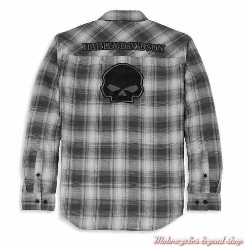 Chemise Willie G Skull Plaid Flannel Harley-Davidson homme, noir & gris, manches longues, coton, dos, 96027-22VM