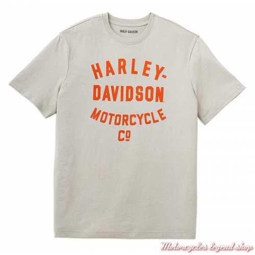 T-shirt Racer Motorcycle Co Harley-Davidson homme, écru, orange, manches courtes, coton, 96054-22VM
