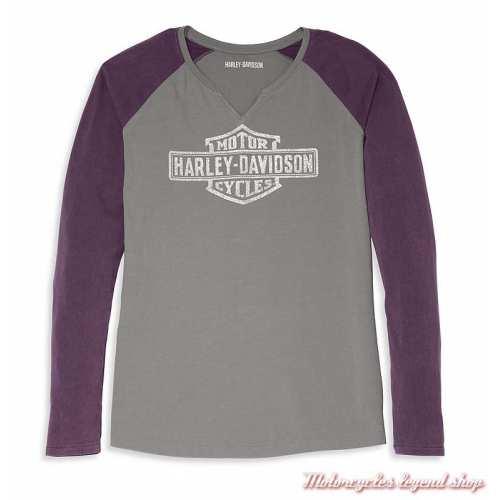 Tee-shirt Colorblock Purple Harley-Davidson femme, manches longues, violet, gris, coton, 96088-22VW