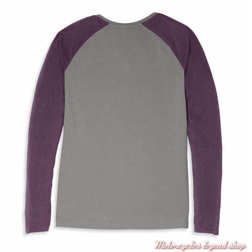 Tee-shirt Colorblock Purple Harley-Davidson femme, manches longues, violet, gris, coton, dos, 96088-22VW