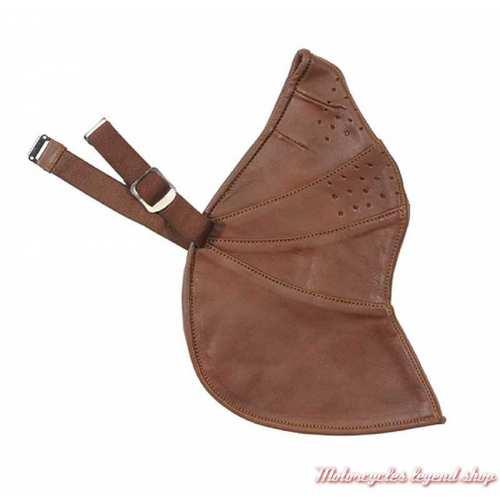 Masque MK2 cuir brun, doublé coton, fixation réglable, Davida 24075
