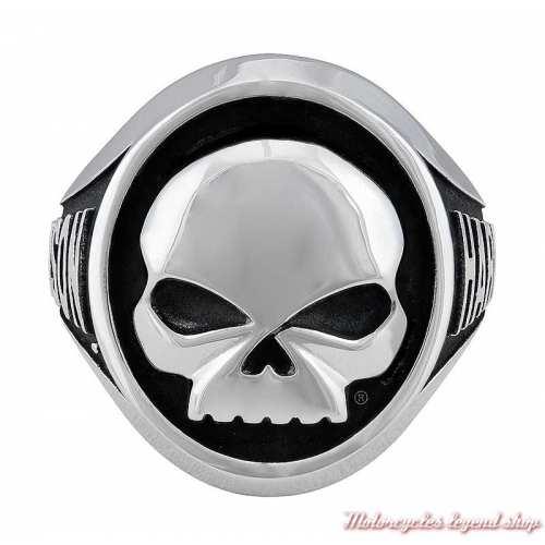 Bague acier Skull Harley-Davidson homme, style chevalière, HSR0086