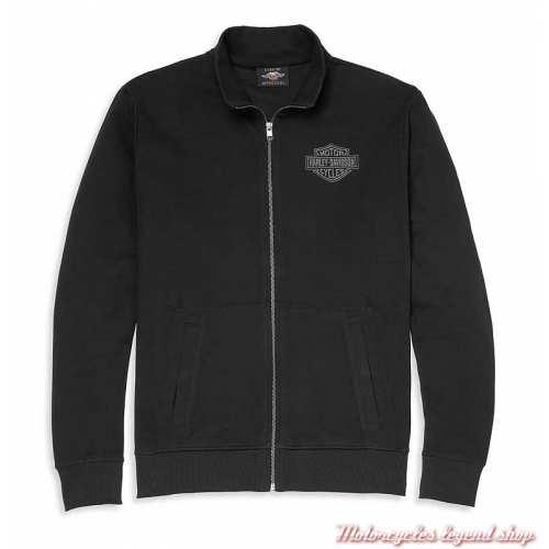 Gilet zippé Bar & Shield Harley-Davidson, coton côtelé, noir, brodé, 96003-22VM