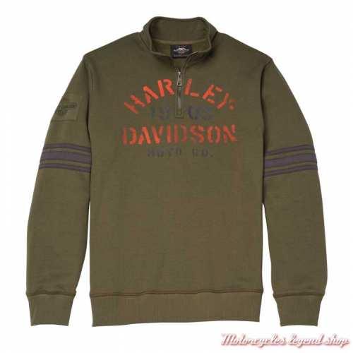 Sweatshirt Stencil Graphic Harley-Davidson homme, col zip 1/4, kaki, coton, polaire, 96014-22VM