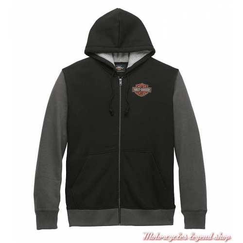 Sweatshirt Colorblock Harley-Davidson homme, noir, gris, zippé, capuche, coton, polyester, 96021-22VM
