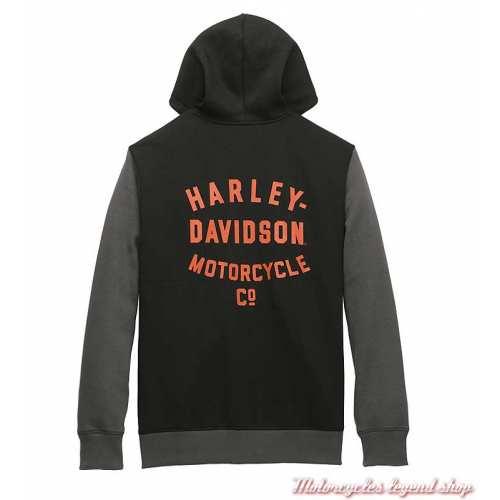 Sweatshirt Colorblock Harley-Davidson homme, noir, gris, zippé, capuche, coton, polyester, dos, 96021-22VM