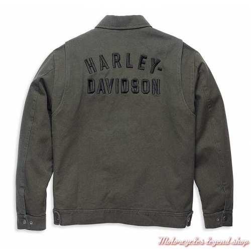 Veste canvas Racer Harley-Davidson homme, noir délavé, brodée, coton, dos, 97406-22VM