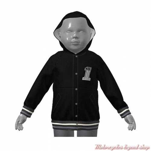 Sweatshirt teddy Varsity à capuche Harley-Davidson enfant mixte, noir, gris, 6070122, 6080122, 6090122