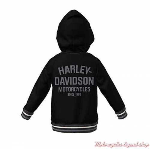 Sweatshirt teddy Varsity à capuche Harley-Davidson enfant mixte, noir, gris, dos, 6070122, 6080122, 6090122