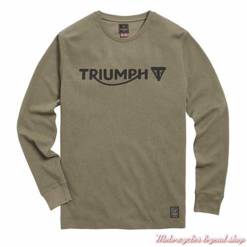 Tee-shirt Bettman Khaki homme Triumph, manches longues, coton, MTLS21011