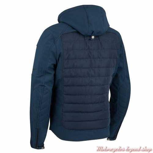 Blouson textile Natcho bleu Segura homme, capuche, waterproof, dos, STB942