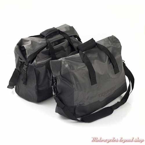 2 Sacs intérieurs pour sacoches alu Expedition Tiger Triumph, nylon, imperméable, gris, noir, A9500519
